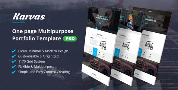 Karvas – One page Multipurpose Portfolio PSD