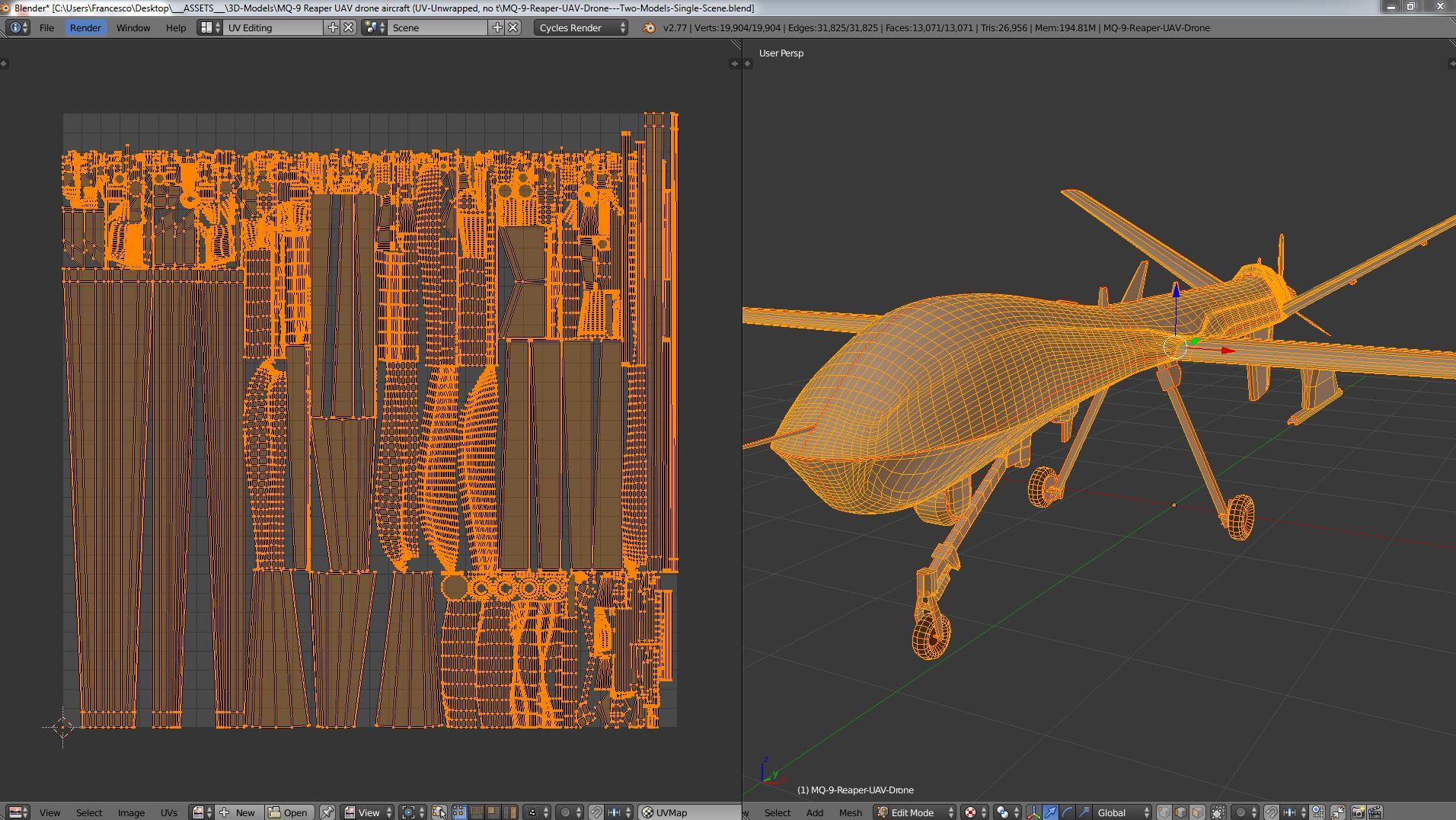 MQ-9 Reaper UAV Drone (two models: gear up/down)