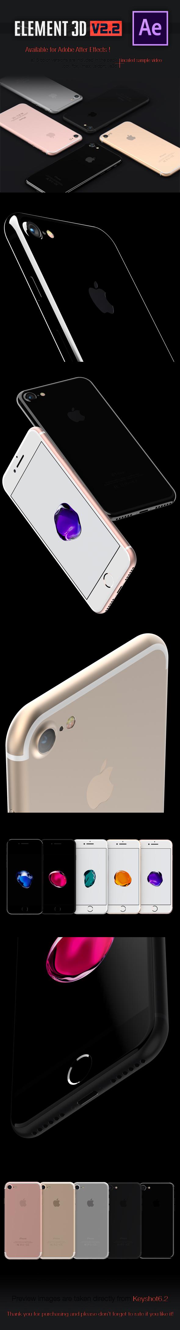iPhone 7 3DElement - 5 Colours - 3DOcean Item for Sale