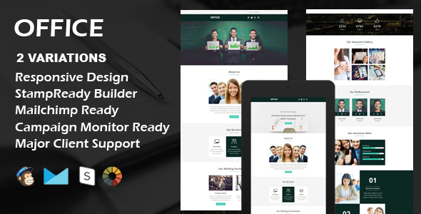 OFFICE - Multipurpose Responsive Email Template + Stamp Ready Builder