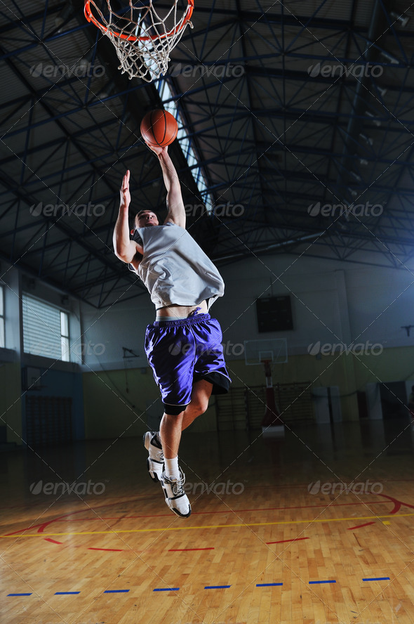 basket ball game player at sport hall - Stock Photo - Images