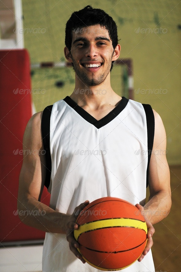 basket ball game player portrait - Stock Photo - Images