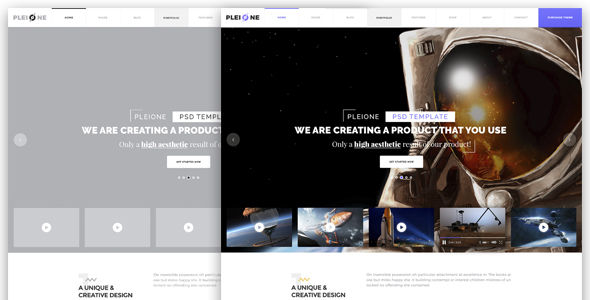 PLEIONE – Creative One Page Landing PSD Template