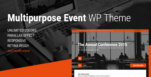 Download Event – Conference & Event WordPress Theme nulled 01 preview1