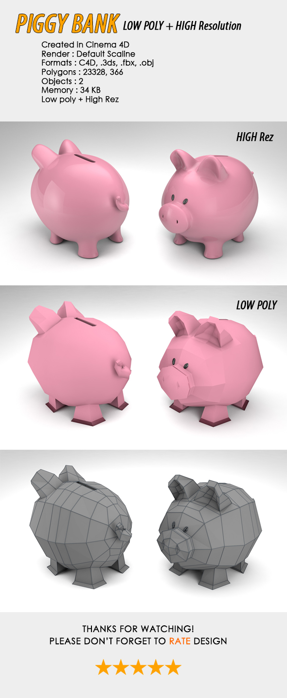 Piggy Bank Low, High Poly - 3DOcean Item for Sale