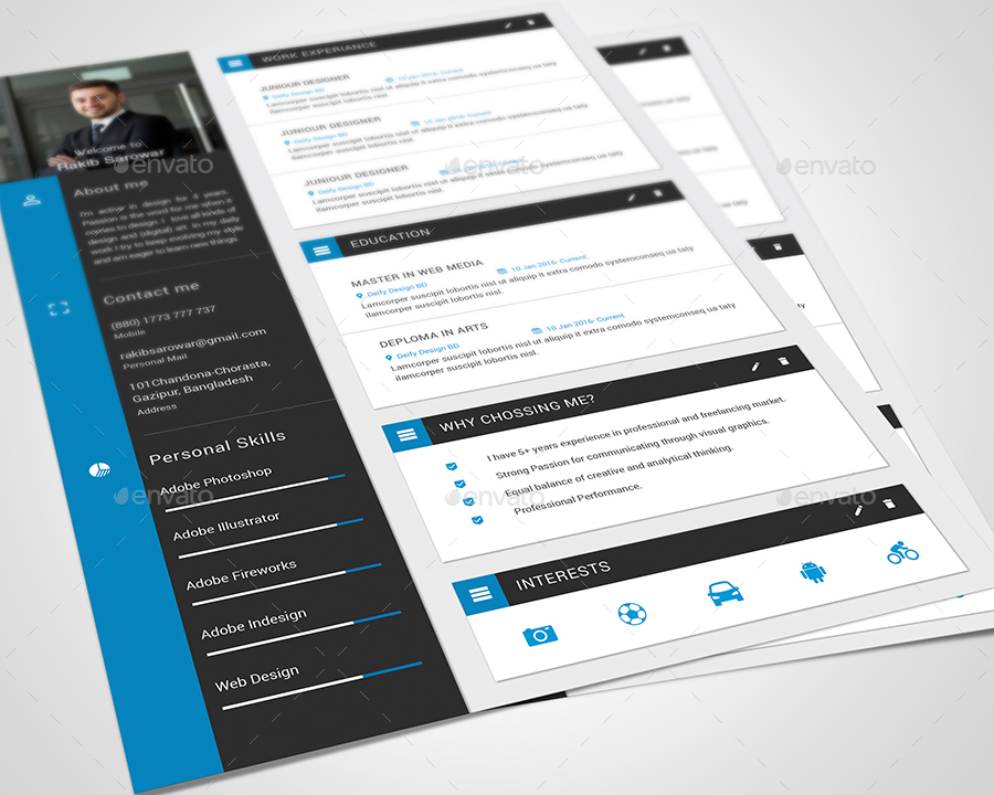 material design cv    resume vol 02 by rakibsarowar