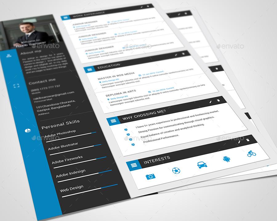 material design cv    resume vol 02 by rakibsarowar