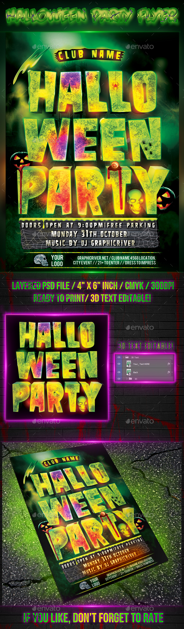 Halloween Party - Flyer Template  - Clubs & Parties Events