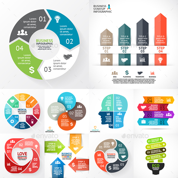 4 Steps Infographics. Vol.1