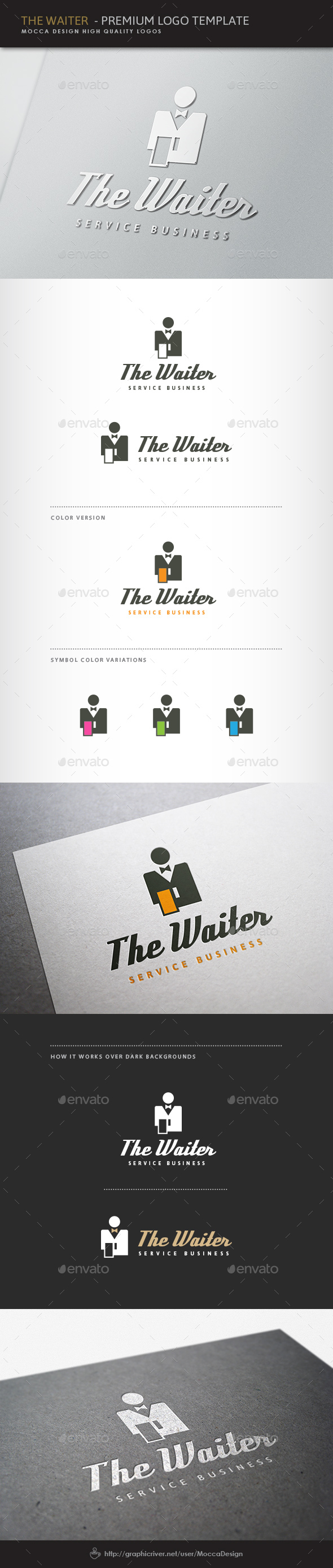 The Waiter Logo - Food Logo Templates