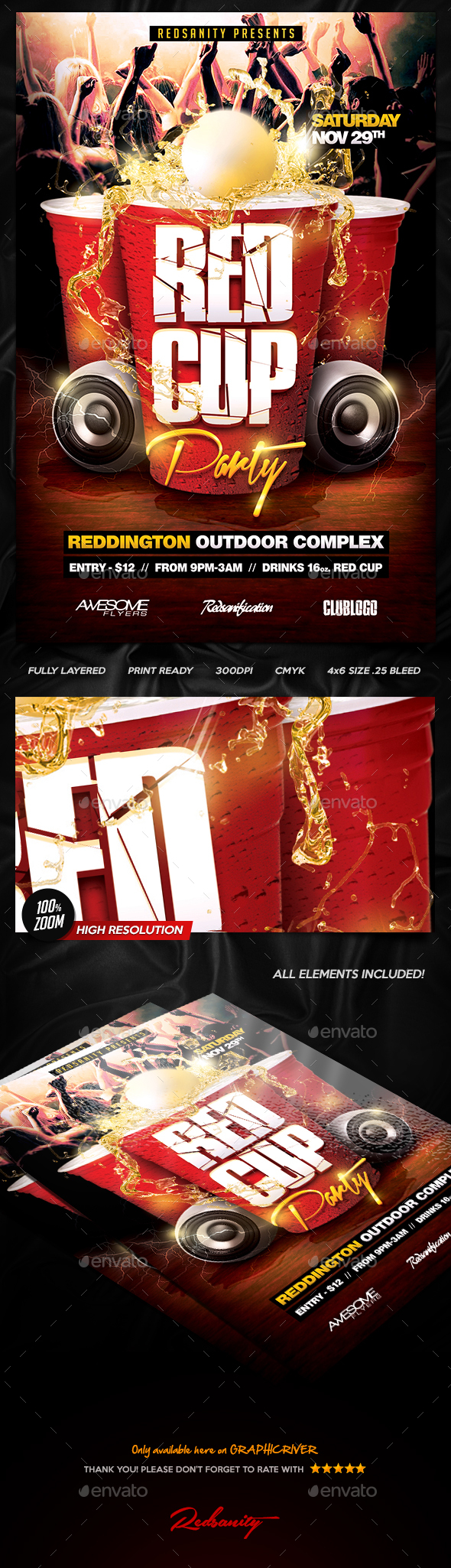 Red Cup Party Flyer V1 - Clubs & Parties Events