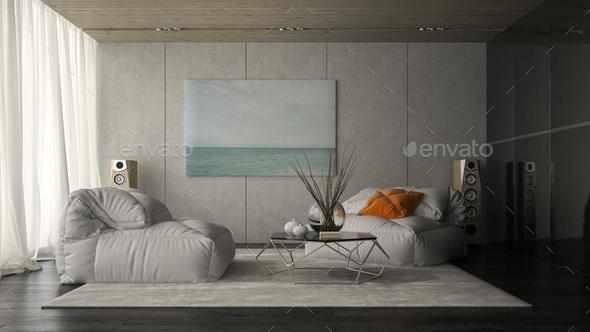 Interior of modern design room 3D rendering - Stock Photo - Images