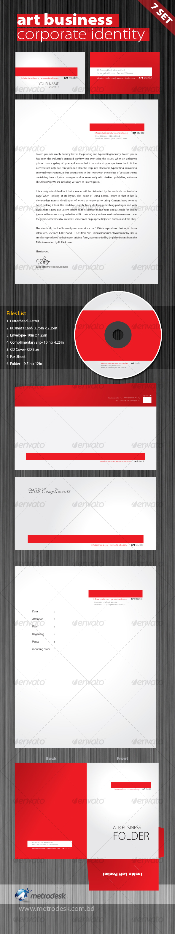 Art Studio Corporate Identity 7 pack - Stationery Print Templates