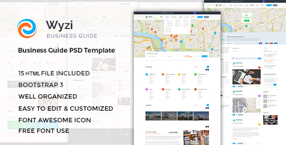 WYZI – Responsive Business Directory with Social Media Look HTML Template