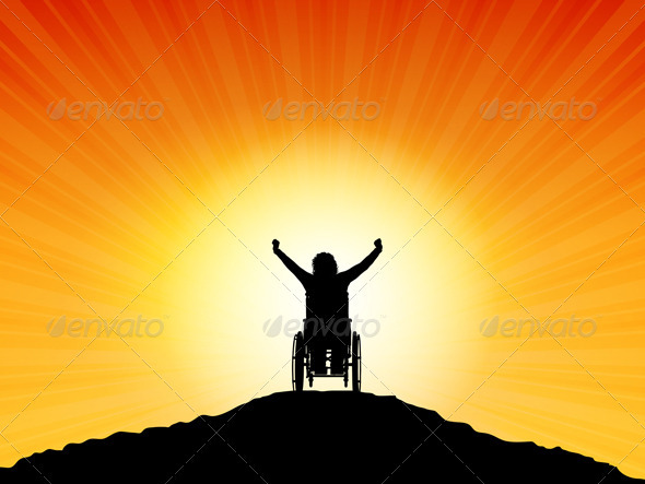 Female in Wheelchair with Arms Raised - People Characters