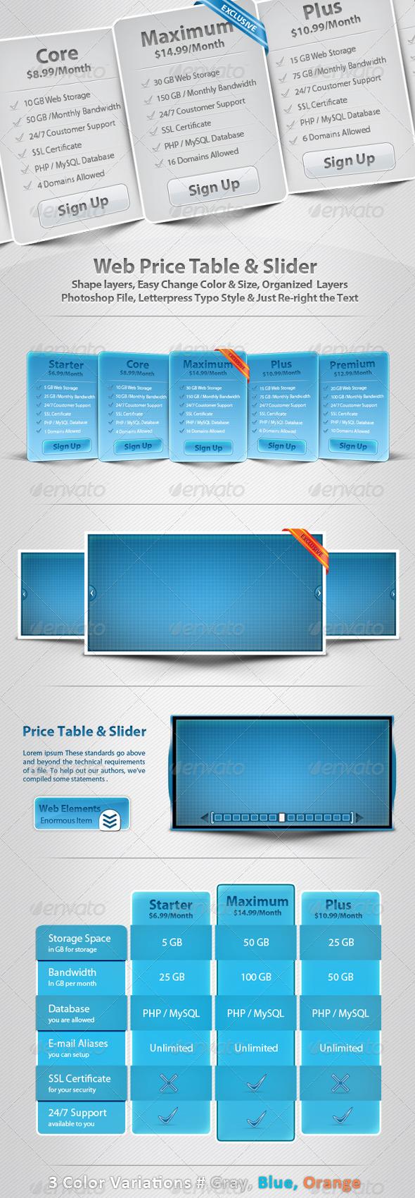 Web Price Table U0026 Slider   Sliders U0026 Features Web Elements
