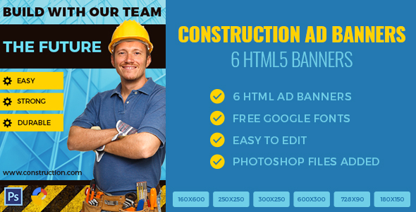 Construction Banners - HTML5 - GWD - CodeCanyon Item for Sale