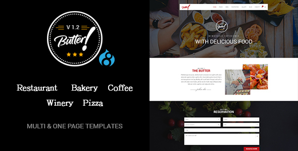 Butter - Professional Restaurant, Bakery, Coffee, Winery and Pizza Drupal 8 Theme - Experimental Creative
