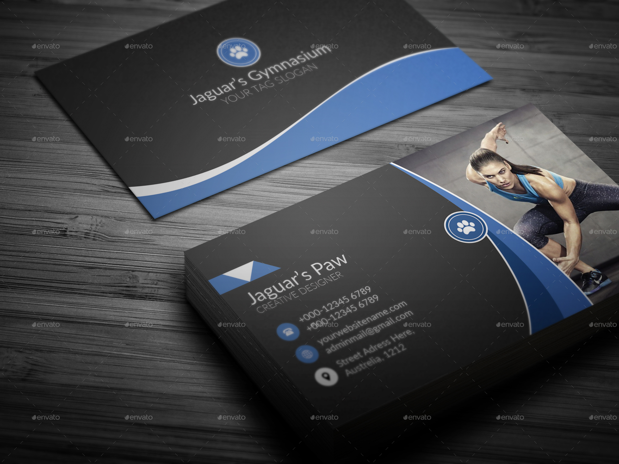 Fitness Business Card by Jaguars_Paw | GraphicRiver