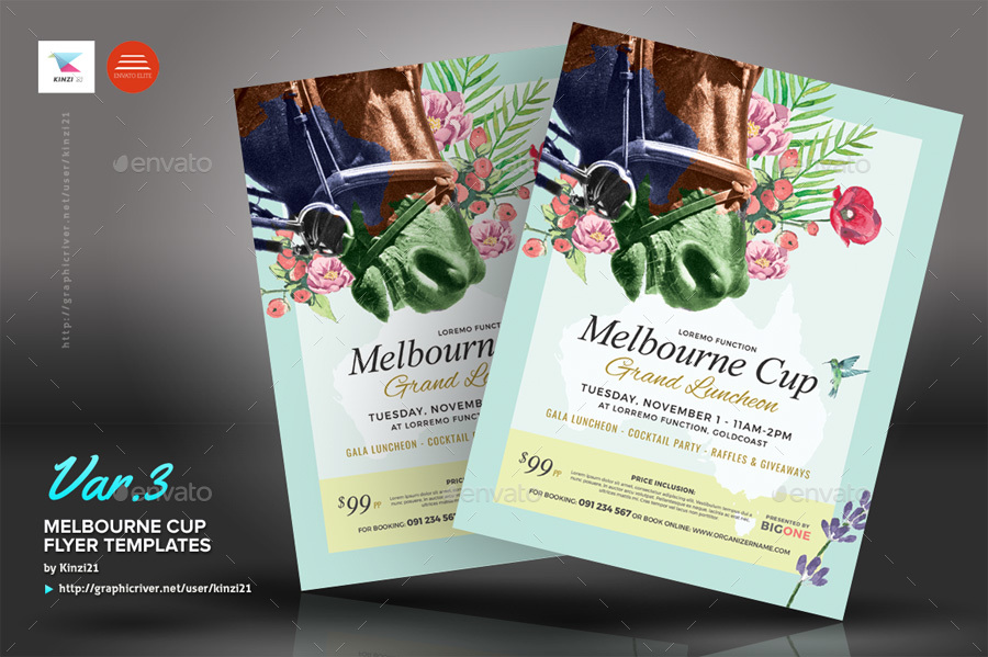 Melbourne Cup Flyer Templates by kinzi21 | GraphicRiver