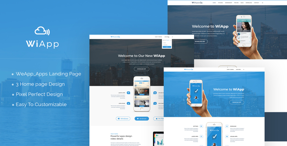 WiApp-Apps Landing Page Template - Technology PSD Templates