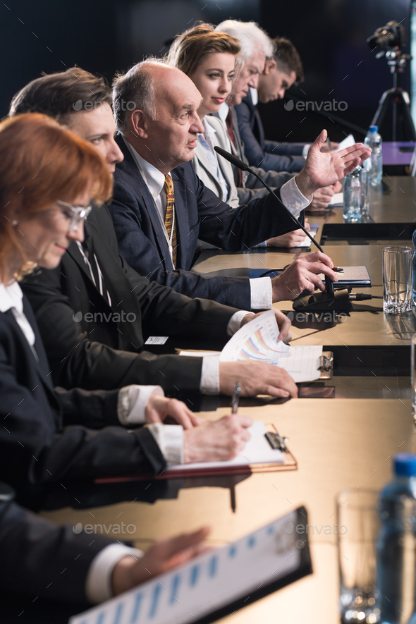Press conference with politicians - Stock Photo - Images