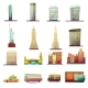 New York  Transportation Landscape Icons Set