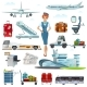 Airport Flight Accessories Flat Icons Set - GraphicRiver Item for Sale