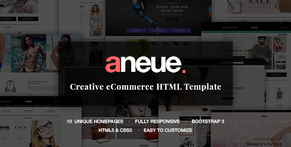 Aneue - Creative eCommerce HTML Template - Fashion Retail