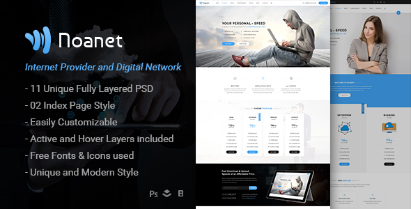 Noanet | Internet Provider and Digital Network PSD Template