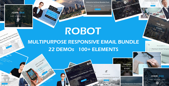 ROBOT – Multipurpose Responsive Email Bundle with Online Stamp Ready Builder Access
