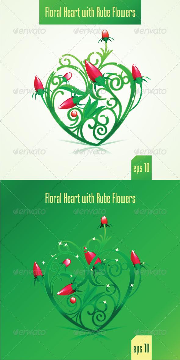 Floral Heart - Decorative Vectors