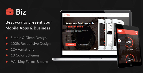 Biz - Simple & Clean HTML5 Business Landing Page - Landing Pages Marketing