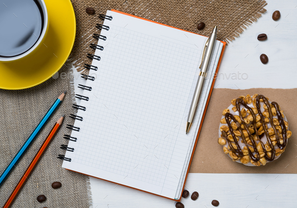 Coffee break with snack - Stock Photo - Images