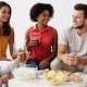 Friends With Drinks And Snacks Talking At Home - VideoHive Item for Sale