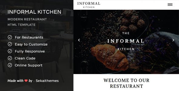 Informal Kitchen – Modern Restaurant HTML Template