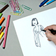 Man Draws a Female Figure On a Piece of Paper - VideoHive Item for Sale