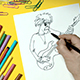 Man Draws On a Piece Of Paper a Caricature - VideoHive Item for Sale