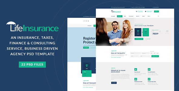 LifeInsurance - An Insurance, taxes, Finance & Consulting Service PSD Template - Business Corporate