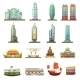Hong Kong Landmarks Transportation Icons Set