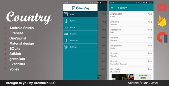 Country - Full Android template app - CodeCanyon Item for Sale