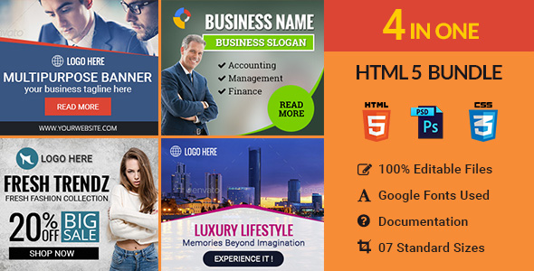 Banner Bundle - 4 in 1 HTML5 Ad Templates - CodeCanyon Item for Sale