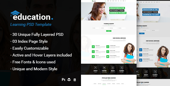 Education - Learning Bootstrap PSD Template - Corporate PSD Templates