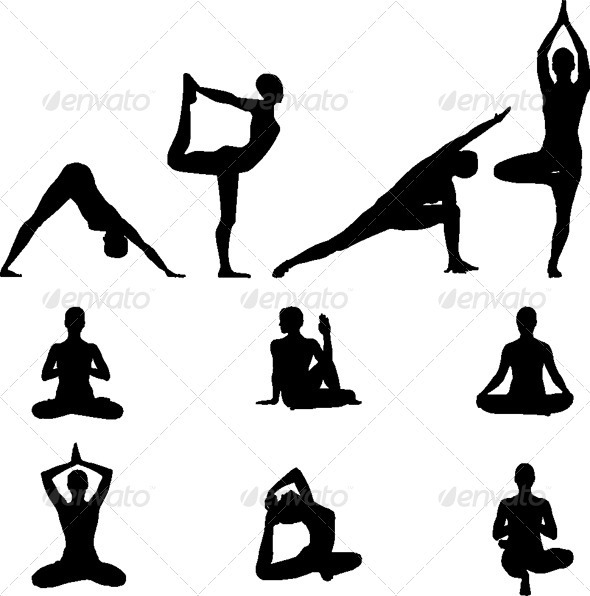 Yoga Silhouettes - Vector Illustration set - People Characters