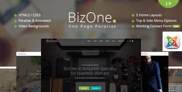 BizOne – One Page Parallax Joomla Template