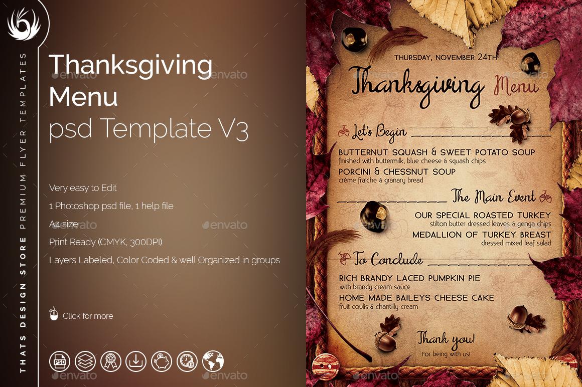 Thanksgiving Menu Template V3 by lou606 | GraphicRiver