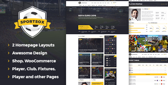 Sportsox | Sport Team Clubs PSD Template - Entertainment PSD Templates