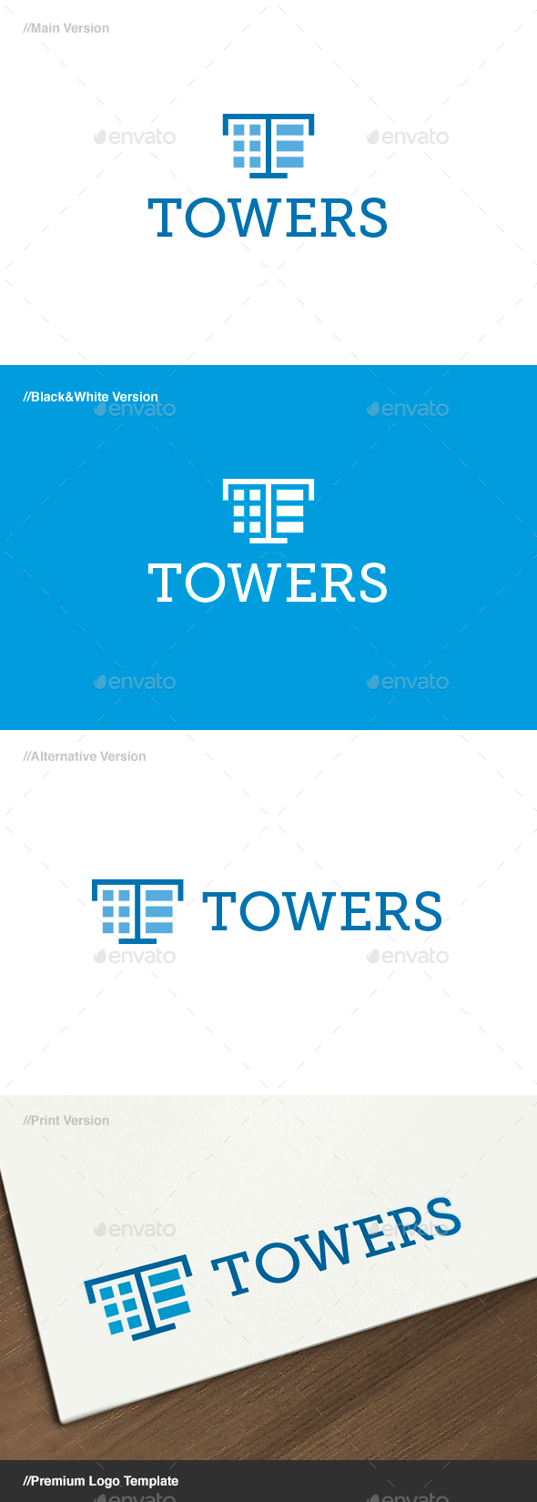 Towers Letter T Logo - Letters Logo Templates