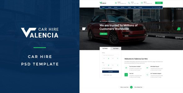 Valencia : Car Hire PSD Template - Creative PSD Templates