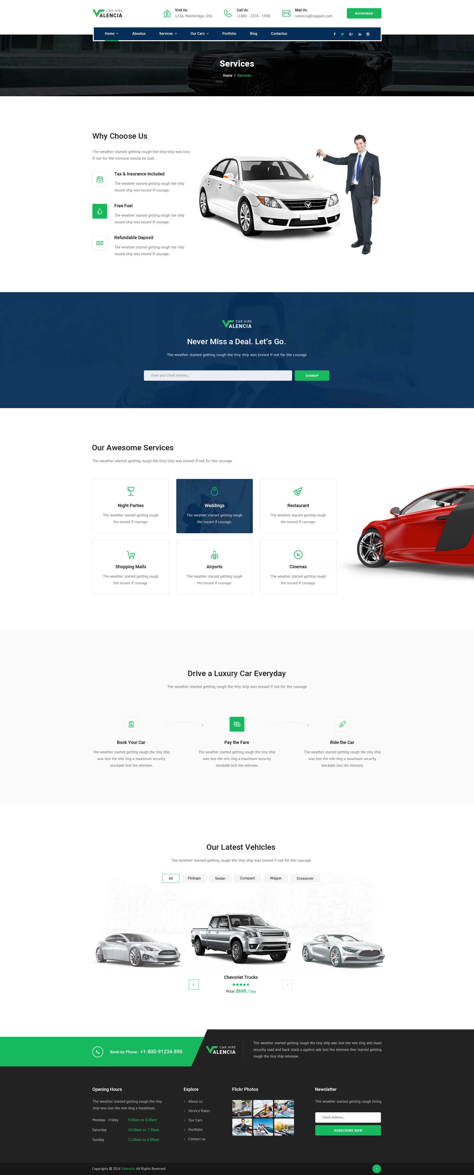 Valencia Car Hire Psd Template By Ifathemes Themeforest